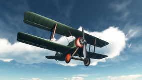 Biplane flying in the sky - 3D render Royalty Free Stock Photo