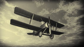 Biplane flying in the sky, vintage style - 3D Royalty Free Stock Photography