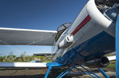 Biplane front view close-up view. White and blue biplane front view close-up view Royalty Free Stock Images