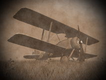 Biplane on the grass - 3D render Royalty Free Stock Images