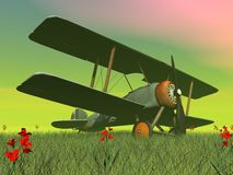 Biplane on the grass - 3D render. Vintage biplane standing on the green grass with flowers by sunset Stock Image