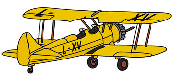 Biplane. Hand drawing of a biplane - not a real type Royalty Free Stock Photography