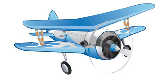 Biplane, illustration. Biplane, Blue and White, Propeller-driven, vector illustration Royalty Free Stock Image
