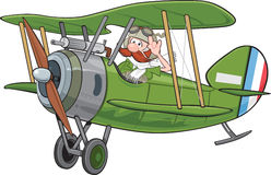 Biplane and pilot Stock Photography