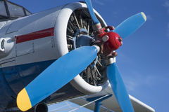 Biplane propeller close-up view. With blue sky background Royalty Free Stock Images