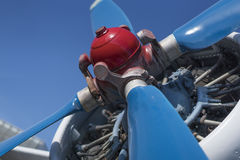 Biplane propeller close-up view. With the head in focus Stock Image