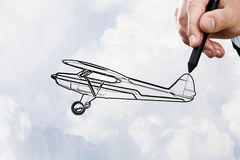 Biplane sketch Stock Photo