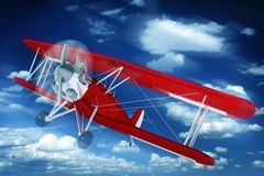 Biplane on the Sky Royalty Free Stock Images
