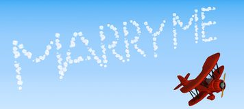 Biplane sky writing marry me royalty free illustration