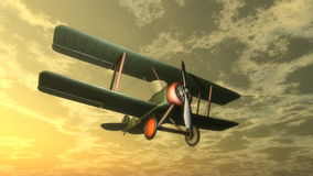 Biplane by sunset - 3D render Stock Photography