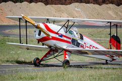 Biplane taxi on runway Stock Images