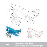Biplane to be traced. Vector numbers game. Biplane in vector to be traced by numbers. Vector dot to dot game. Connect dots for numbers Royalty Free Stock Photography