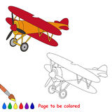 Biplane in vector cartoon to be colored. Royalty Free Stock Photo