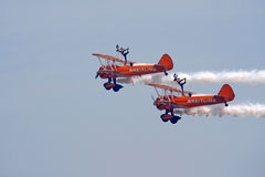 Biplane Wing walkers display Stock Photos