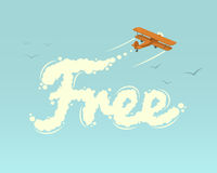 Biplane with word Free Royalty Free Stock Photos