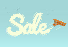 Biplane with word Sale. Vector illustration. Stock Images