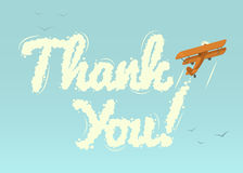 Biplane with word Thank You. Vector illustration Royalty Free Stock Images