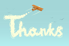 Biplane with word Thanks. Vector illustration Royalty Free Stock Photo