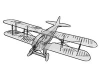 Biplane from World War with black outline. Model aircraft propeller. Stock Photo