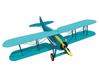 Biplane from World War with blue coating. Model aircraft propeller. Royalty Free Stock Photos