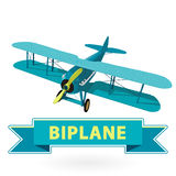 Biplane from World War with blue coating. Model aircraft propeller. Biplane from World War with blue coating. Model aircraft propeller with two wings. Old retro royalty free illustration