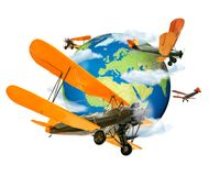 Biplanes flying around the Globe. Biplanes flying around the planet Earth, travel and transport concept stock illustration