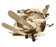 Biplanes flying around the Globe sepia. Biplanes flying around the planet Earth, travel and transport concept, sepia toned vector illustration