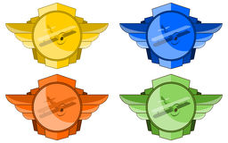 Biplanes In Wings Emblem Stock Photography