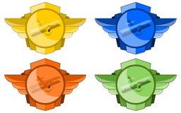Biplani nell'emblema delle ali Fotografia Stock