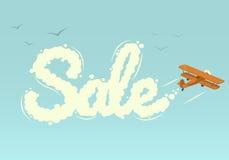 Biplano con la vendita di parola. Illustrazione di vettore. Immagini Stock