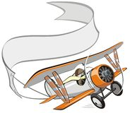 Biplano del fumetto di vettore con la bandiera Fotografia Stock