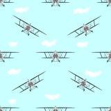 Biplanu bezszwowy deseniowy tło Obrazy Royalty Free