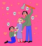 Bipolär oordning - familjevåld Arkivfoton