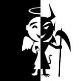 bipolär oordning Leende av helgonet och satan Arkivbild