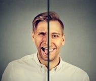 Bipolair wanordeconcept Jonge mens met dubbele gezichtsuitdrukking royalty-vrije stock foto's