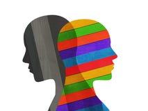 Bipolaire geestelijke wanordemening Gespleten persoonlijkheid Stemmingswanorde Dubbel persoonlijkheidsconcept Gekleurd en zwart vector illustratie
