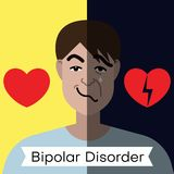 Bipolar disorder concept. Young man with double face expression and red heart. Vector illustration royalty free illustration