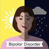 Bipolar disorder concept. Young woman with double face expression and mental health weather concept. Vector illustration vector illustration