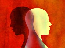 Bipolar disorder mind mental concept. Change of mood. Emotions. Dual personality. Split personality. Head silhouette of man. Possible use in highlighting the stock illustration
