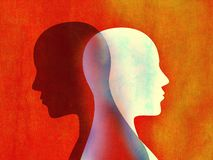Bipolar disorder mind mental concept. Change of mood. Emotions. Split personality. Dual personality. Head silhouette of man. Possible use in highlighting the vector illustration