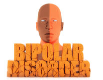 Bipolar disorder text. Human figure and 3d bipolar disorder text Royalty Free Stock Photography
