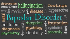 Bipolar disorder word cloud concept stock photography