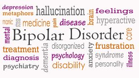 Bipolar disorder word cloud concept royalty free stock images