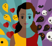 Bipolar double personality mental disorder african girl woman bad and good thoughs. Bipolar mental health double personality woman royalty free illustration