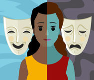 Bipolar double personality mental disorder african girl woman theater masks Stock Photo