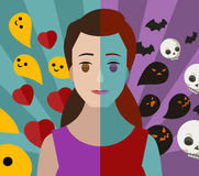 Bipolar double personality mental disorder girl woman bad and good thoughs Stock Photo