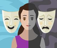 Bipolar double personality mental disorder girl woman theater masks Stock Image