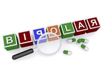 Bipolar. Spelled in colorful kids blocks with magnifying glass and capsules on white Stock Photo