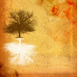 Bipolar tree. On grunge old paper background with leaves stock illustration