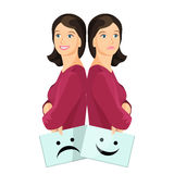 Bipolar woman smiling and upset holding paper with smiley. Bipolar woman smiling and upset holding sheets of paper with happy and unhappy smiley vector stock illustration